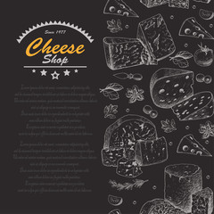 Vertical background with cheese products
