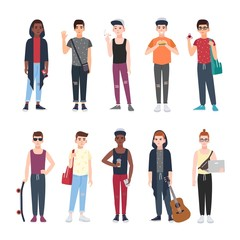 Collection of teenage boys dressed in trendy clothing isolated on white background. Set of male teenager cartoon characters with skateboard, fidget spinner, laptop, guitar. Vector illustration.