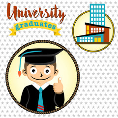 baccalaureate cartoon with university building on stars background