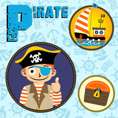 cartoon of young boy with pirate costume, sailboat, treasure on sailing equipment background