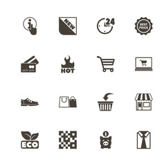 Shopping icons. Perfect black pictogram on white background. Flat simple vector icon.