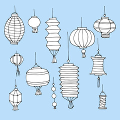 Set of Chinese paper street hand drawn lanterns. Chinese New Year decorative cartoon elements. Traditional asian festival decorations. Vector illustration. Sketch doodle lanterns. Paper lights