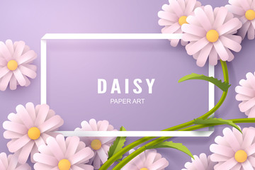 Paper art of Daisy flower and background template