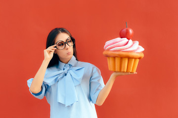 Funny Girl Holding Big Huge Giant Sweet Muffin Cupcake Wall mural