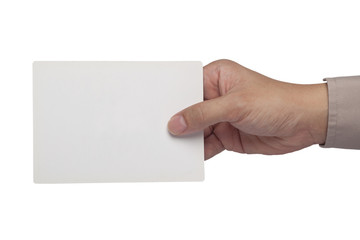 Holding a blank paper card