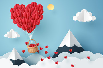 Paper art of heart balloon flying and scattering little heart in the sky, origami and valentine's day concept