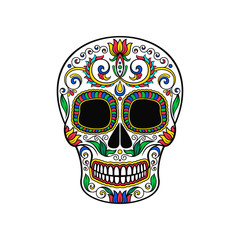 Mexican sugar skull with floral pattern, Dia de Muertos vector Illustration