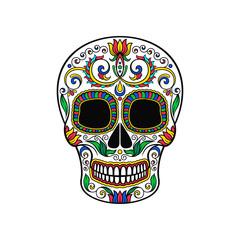 Mexican sugar skull with floral pattern, Dia de Muertos vector Illustration