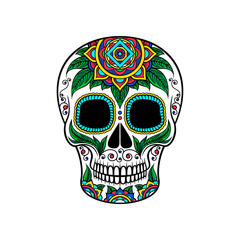 Mexican sugar skull with floral ornament, Dia de Muertos vector Illustration