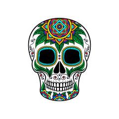 Mexican sugar skull with floral ornament, Dia de Muertos vector Illustration