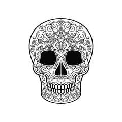 Mexican sugar skull with floral pattern, Day of the death black and white vector Illustration
