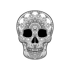 Sugar skull with floral pattern, Mexican day of the dead black and white vector Illustration