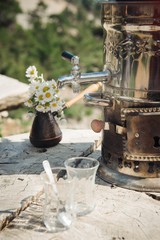 Romantic turkish tea culture. In wild nature