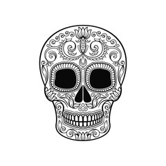 Mexican sugar skull with floral pattern, Dia de Muertos black and white vector Illustration