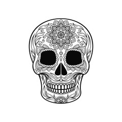 Day of The Dead Skull, sugar skull with floral pattern black and white vector Illustration