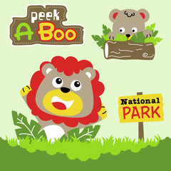 playing peek a boo with funny animals cartoon