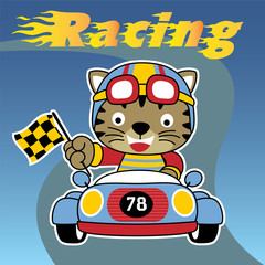 Racing car with funny racer cartoon