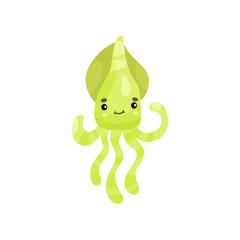 Cute smiling octopus cartoon character, funny underwater animal vector Illustration
