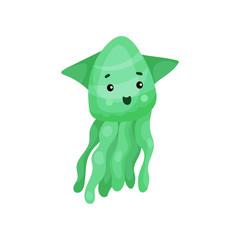 Cute green octopus cartoon character, funny underwater animal vector Illustration