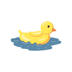 Giant yellow duck floating on water cartoon vector Illustration