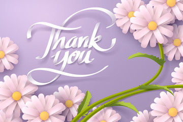Paper art of Thank you calligraphy and Daisy flower with copy space