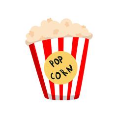 Popcorn in striped bucket cartoon vector Illustration