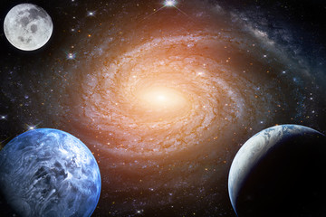 Wall Mural - Landscape galaxy. Planet, Earth, moon view from space with Milky way galaxy. (Elements of this image furnished by NASA)