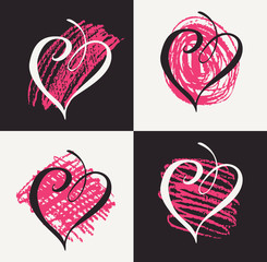 Vector collection of hand drawn graphic hearts. Design elements for Valentines day. Black and white hearts with pink doodles. Set of pencil and brush drawings