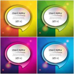 Abstract vector speech bubbles set of 4. Round paper speech bubbles on the colorful, circular background. Each item contains space for own text. Vector illustration. Eps10.