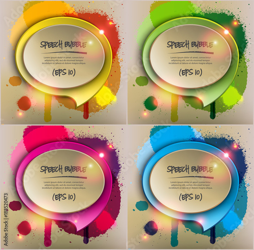 Abstract vector backgrounds set of 4  Round paper speech