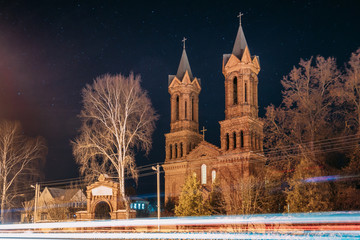 Vitebsk, Belarus. Night View Of Old Cathedral Of St. Barbara On Background