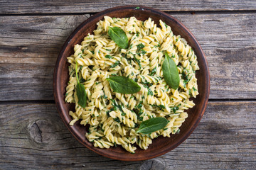 Pasta with baby spinach