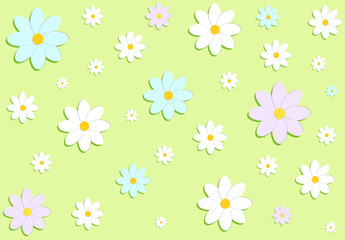 Vector illustration. Daisies (flowers) on a green background. Spring background.