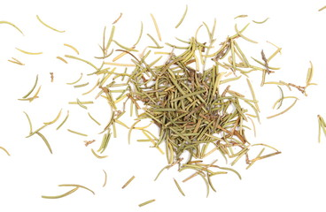 Pile of dry rosemary isolated on white background, top view