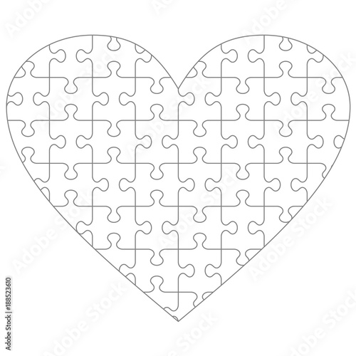 Heart shaped jigsaw puzzle blank template with classic style