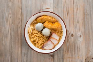 Top view Curry Noodles cuisine