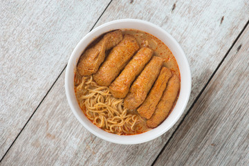 Top view Curry Laksa Noodles