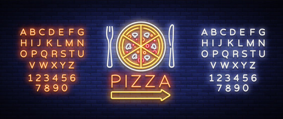 Pizza logo emblem neon sign. Logo in neon style, bright neon sign with Italian food promotion, pizzeria, snack, cafe, bar, restaurant. Pizza delivery. Vector illustration. Editing text neon sign