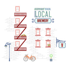 Illustration of brick wall of building with local pub and brewery. Banner promotes local business support and neighborhood community. Flat line art style.