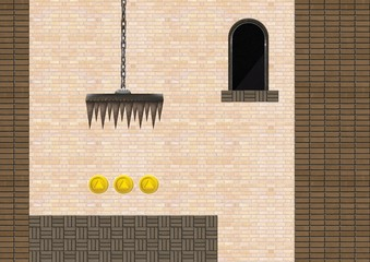 Computer Game Level with trap and coins