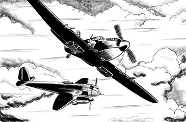 World War 2 vintage aircraft digital drawing.