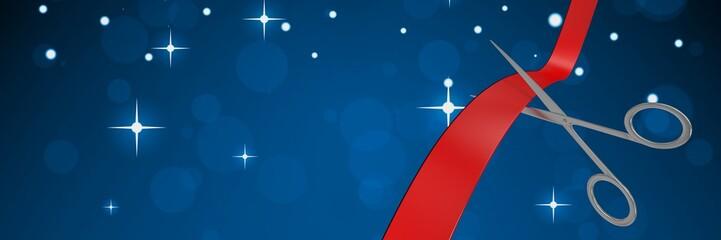 Scissors cutting ribbon with stars