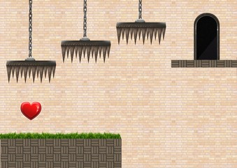 Computer Game Level with heart and traps