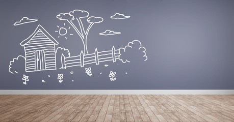 garden drawings on wall