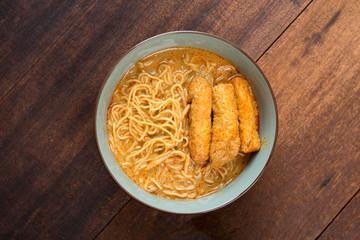Top view Curry Laksa Noodles cuisine