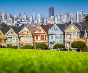 San Francisco skyline with Painted Ladies at Alamo Square, California, USA