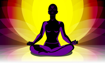 yogi in a padmasana pose against the background of a lotus