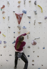 Indoor rock climbing female