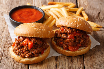 Homemade sandwiches with meat Sloppy Joe and french fries, ketchup closeup. horizontal