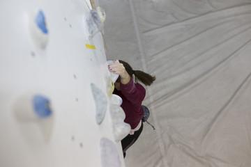 Indoor rock climbing female